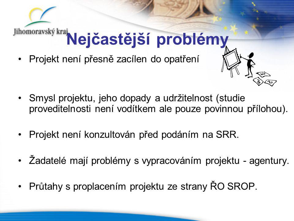 Nejčastější problémy Projekt není přesně zacílen do opatření Smysl projektu, jeho dopady a udržitelnost (studie proveditelnosti není vodítkem ale pouz