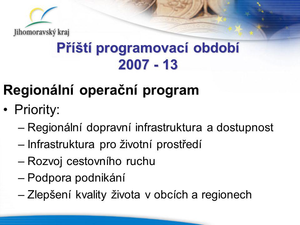 Příští programovací období 2007 - 13 Regionální operační program Priority: –Regionální dopravní infrastruktura a dostupnost –Infrastruktura pro životn