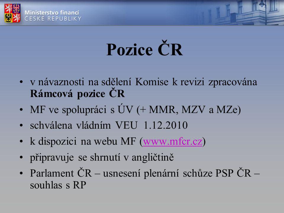 Pozice ČR v návaznosti na sdělení Komise k revizi zpracována Rámcová pozice ČR MF ve spolupráci s ÚV (+ MMR, MZV a MZe) schválena vládním VEU 1.12.2010 k dispozici na webu MF (www.mfcr.cz)www.mfcr.cz připravuje se shrnutí v angličtině Parlament ČR – usnesení plenární schůze PSP ČR – souhlas s RP
