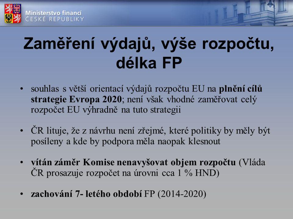 Zaměření výdajů, výše rozpočtu, délka FP souhlas s větší orientací výdajů rozpočtu EU na plnění cílů strategie Evropa 2020; není však vhodné zaměřovat celý rozpočet EU výhradně na tuto strategii ČR lituje, že z návrhu není zřejmé, které politiky by měly být posíleny a kde by podpora měla naopak klesnout vítán záměr Komise nenavyšovat objem rozpočtu (Vláda ČR prosazuje rozpočet na úrovni cca 1 % HND) zachování 7- letého období FP (2014-2020)