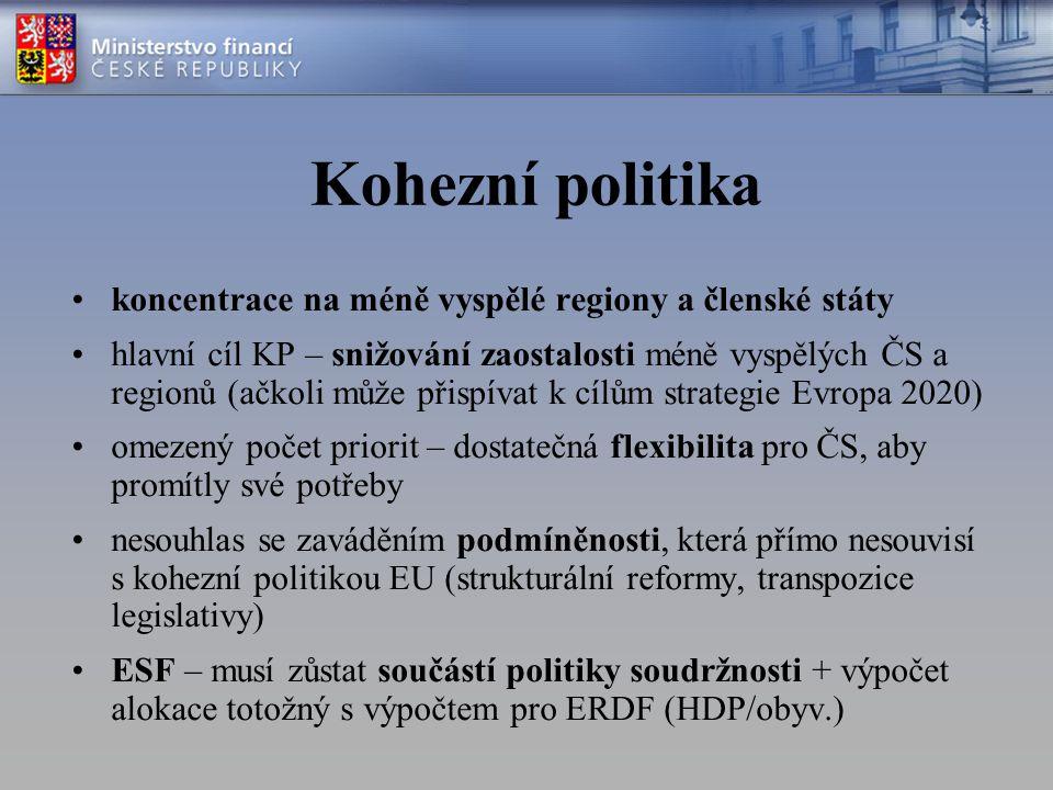 Kohezní politika koncentrace na méně vyspělé regiony a členské státy hlavní cíl KP – snižování zaostalosti méně vyspělých ČS a regionů (ačkoli může přispívat k cílům strategie Evropa 2020) omezený počet priorit – dostatečná flexibilita pro ČS, aby promítly své potřeby nesouhlas se zaváděním podmíněnosti, která přímo nesouvisí s kohezní politikou EU (strukturální reformy, transpozice legislativy) ESF – musí zůstat součástí politiky soudržnosti + výpočet alokace totožný s výpočtem pro ERDF (HDP/obyv.)