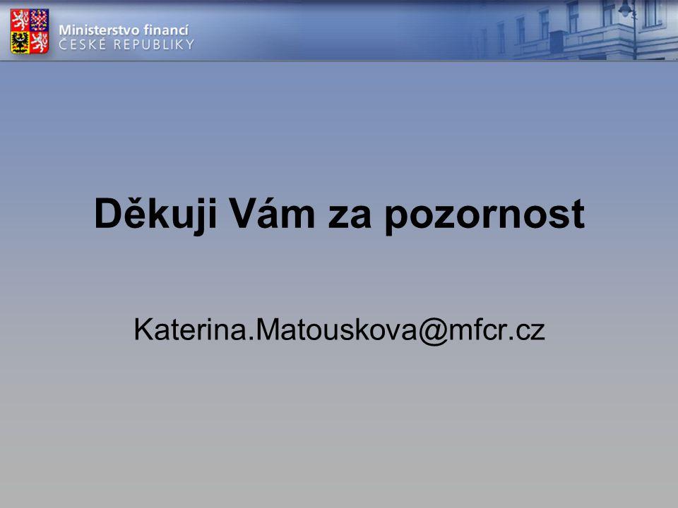 Děkuji Vám za pozornost Katerina.Matouskova@mfcr.cz