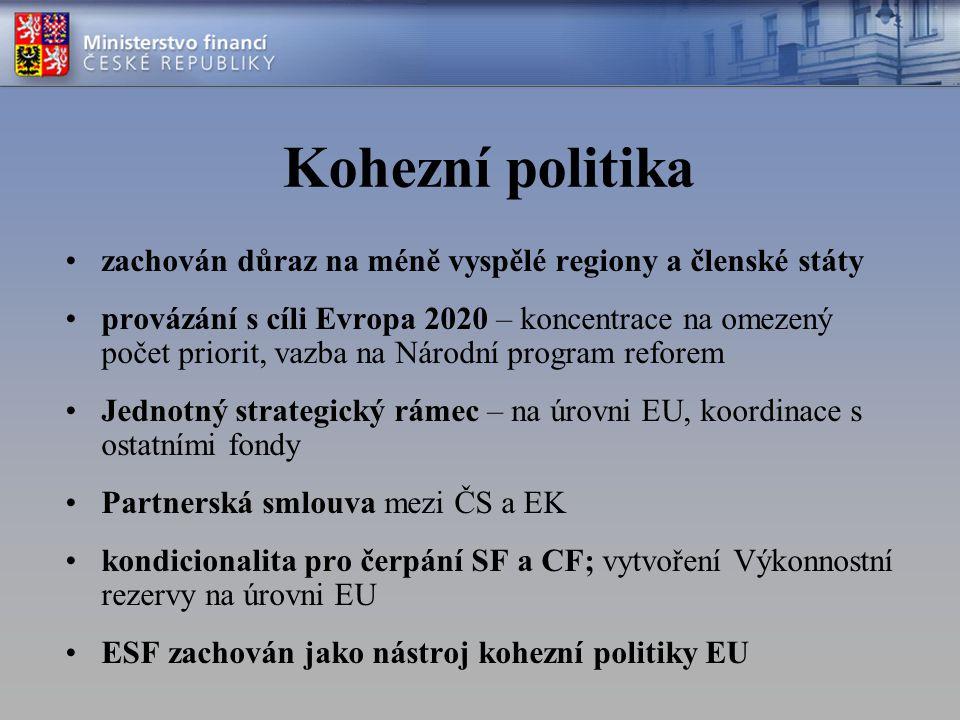 Kohezní politika zachován důraz na méně vyspělé regiony a členské státy provázání s cíli Evropa 2020 – koncentrace na omezený počet priorit, vazba na Národní program reforem Jednotný strategický rámec – na úrovni EU, koordinace s ostatními fondy Partnerská smlouva mezi ČS a EK kondicionalita pro čerpání SF a CF; vytvoření Výkonnostní rezervy na úrovni EU ESF zachován jako nástroj kohezní politiky EU
