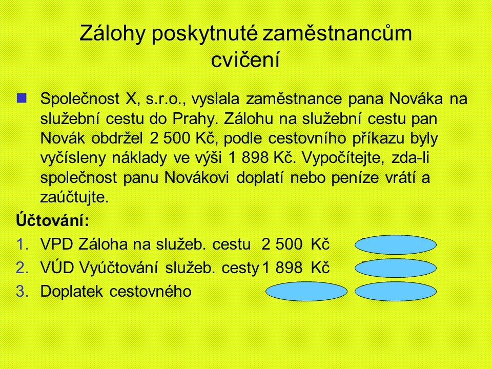 Zálohy poskytnuté zaměstnancům cvičení Společnost X, s.r.o., vyslala zaměstnance pana Nováka na služební cestu do Prahy.