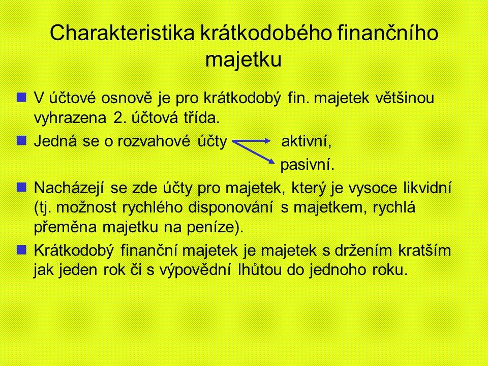 Členění finančních účtů finanční účty členíme AKTIVNÍPASIVNÍ 211 pokladna231 krátkodob.