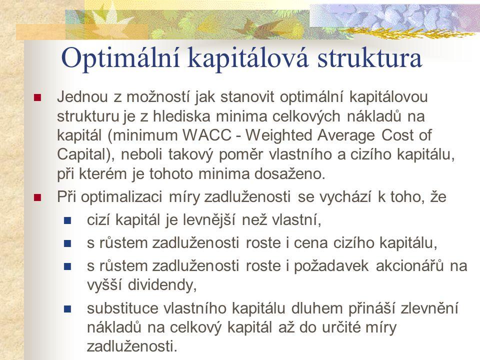 Optimální kapitálová struktura Jednou z možností jak stanovit optimální kapitálovou strukturu je z hlediska minima celkových nákladů na kapitál (minim