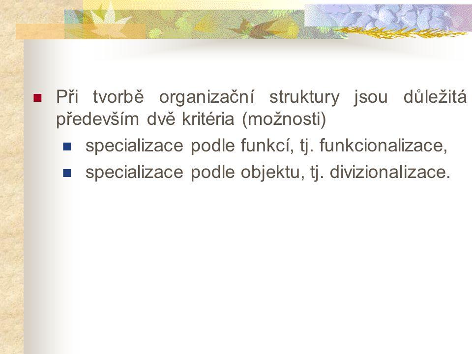 Při tvorbě organizační struktury jsou důležitá především dvě kritéria (možnosti) specializace podle funkcí, tj. funkcionalizace, specializace podle ob