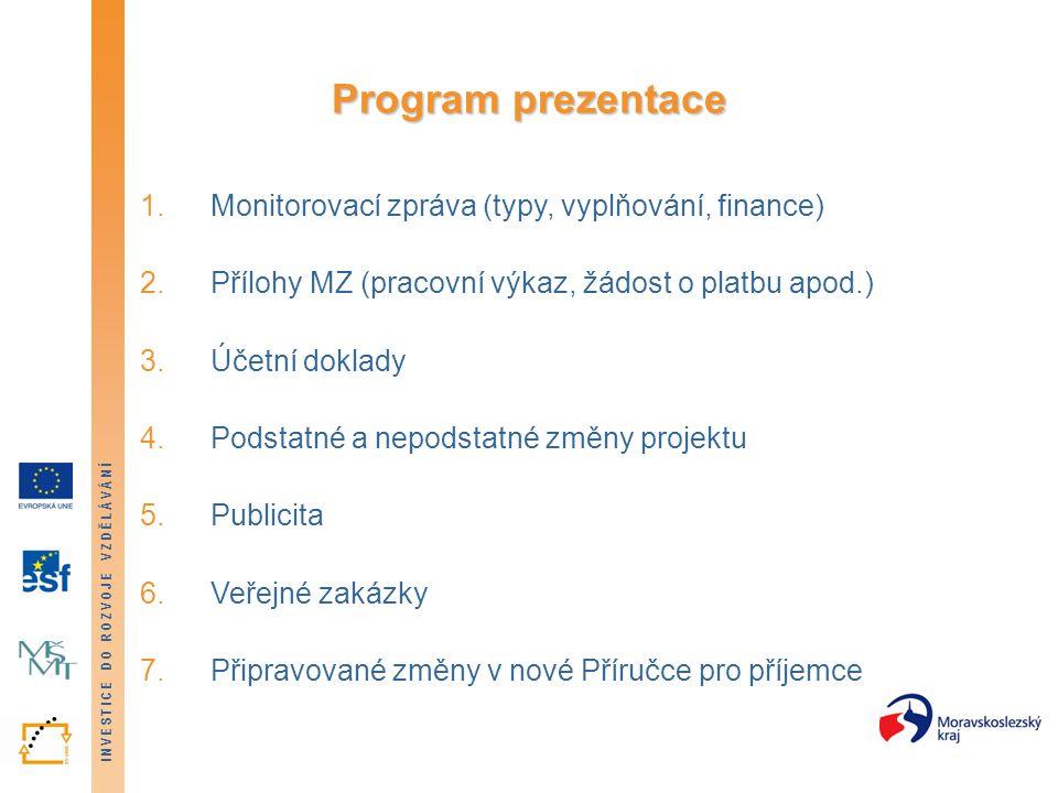 INVESTICE DO ROZVOJE VZDĚLÁVÁNÍ Program prezentace 1.Monitorovací zpráva (typy, vyplňování, finance) 2.Přílohy MZ (pracovní výkaz, žádost o platbu apo