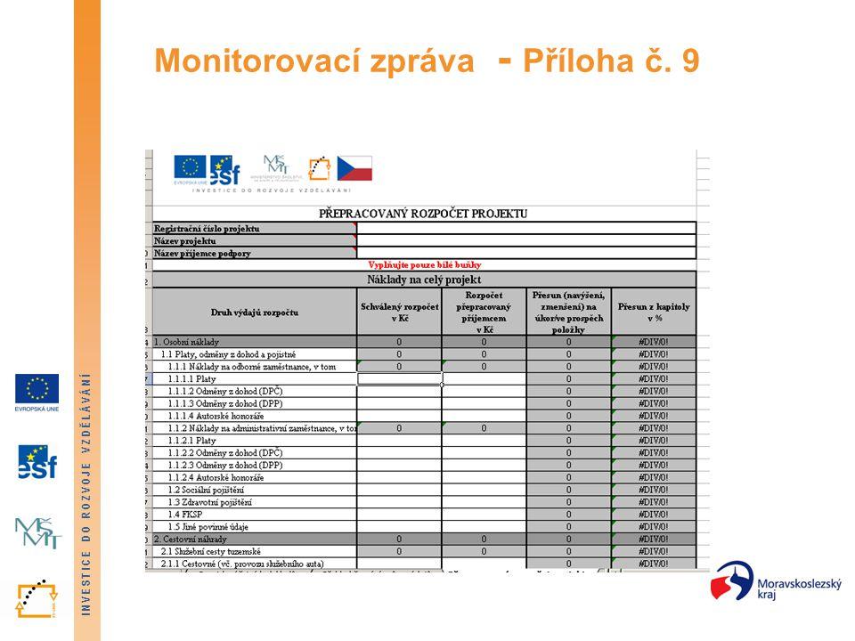 INVESTICE DO ROZVOJE VZDĚLÁVÁNÍ Monitorovací zpráva - Příloha č. 9