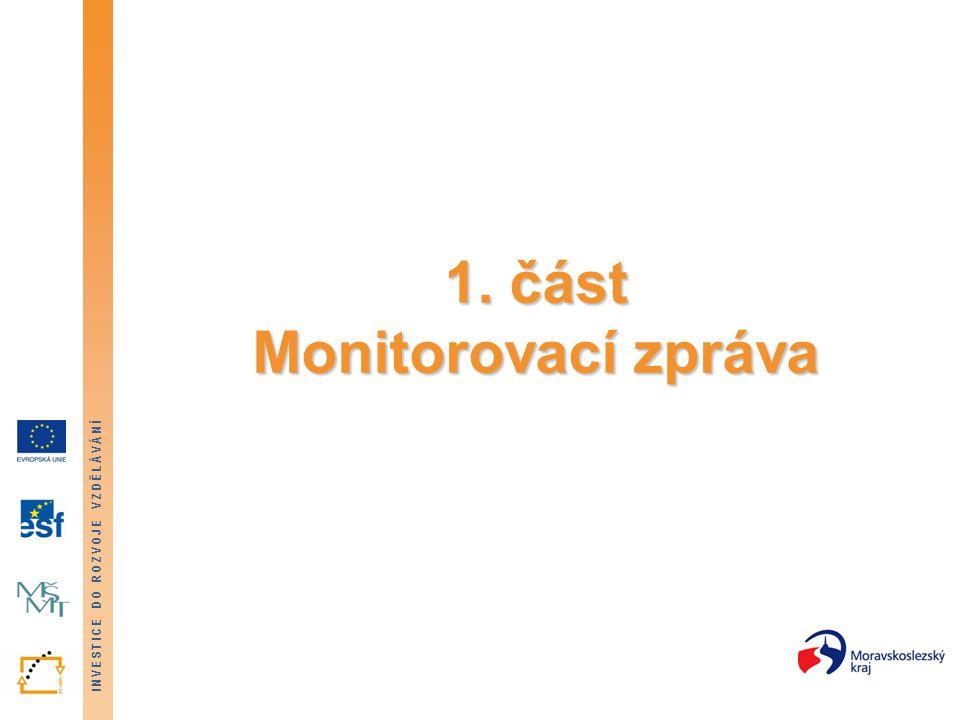 INVESTICE DO ROZVOJE VZDĚLÁVÁNÍ Přehled typů monitorovacích zpráv Příjemce předkládá: 1) v průběhu realizace projektu: Průběžné monitorovací zprávy – předkládají se v průběhu realizace projektu, a to periodicky (co 3 měsíce) případně v mimořádných termínech (po vyčerpání 80 % zálohy) 2) Po ukončení realizace projektu: Závěrečnou monitorovací zprávu – předkládá se po ukončení realizace projektu.