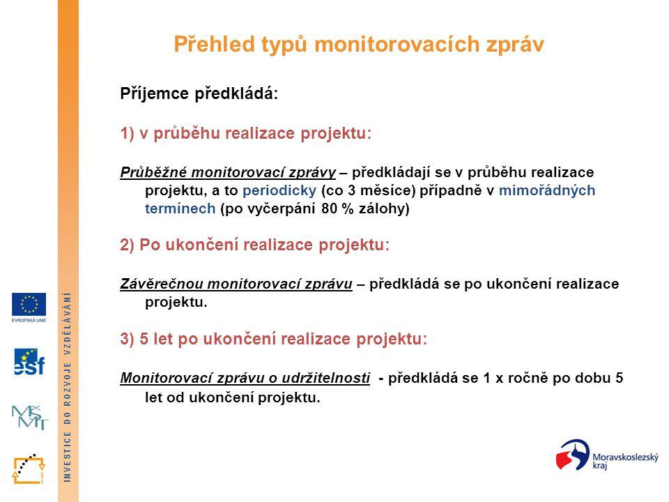 INVESTICE DO ROZVOJE VZDĚLÁVÁNÍ Přehled typů monitorovacích zpráv Příjemce předkládá: 1) v průběhu realizace projektu: Průběžné monitorovací zprávy –