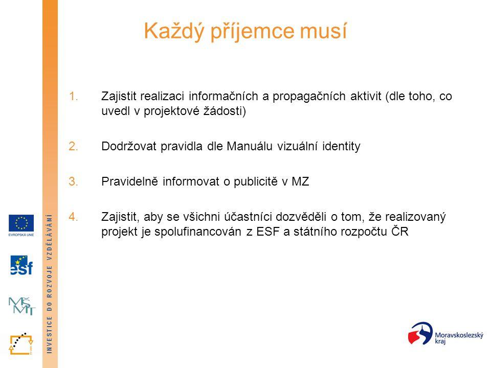 INVESTICE DO ROZVOJE VZDĚLÁVÁNÍ Každý příjemce musí 1.Zajistit realizaci informačních a propagačních aktivit (dle toho, co uvedl v projektové žádosti)