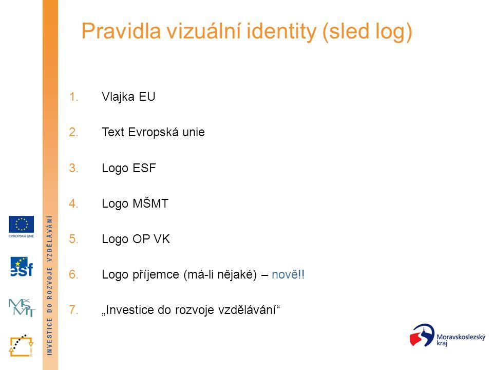 INVESTICE DO ROZVOJE VZDĚLÁVÁNÍ Pravidla vizuální identity (sled log) 1.Vlajka EU 2.Text Evropská unie 3.Logo ESF 4.Logo MŠMT 5.Logo OP VK 6.Logo příj