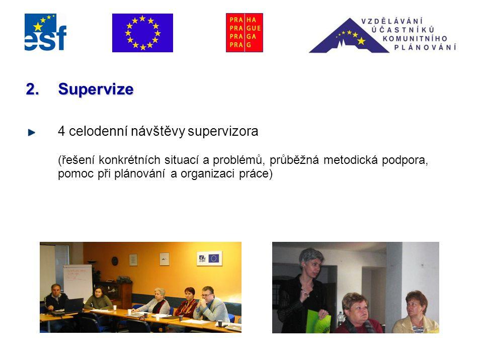 2.Supervize 4 celodenní návštěvy supervizora (řešení konkrétních situací a problémů, průběžná metodická podpora, pomoc při plánování a organizaci práce)
