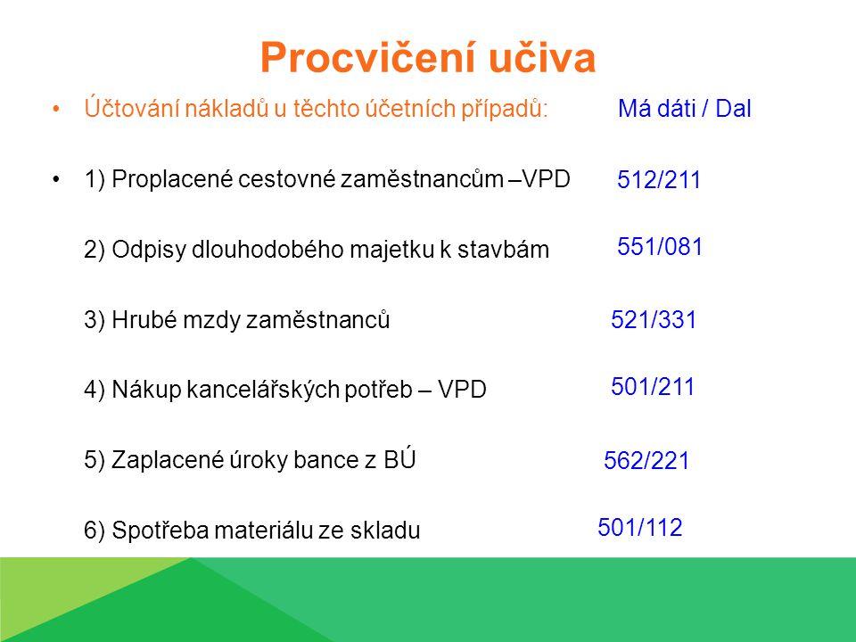 Procvičení učiva Účtování nákladů u těchto účetních případů: Má dáti / Dal 1) Proplacené cestovné zaměstnancům –VPD 2) Odpisy dlouhodobého majetku k stavbám 3) Hrubé mzdy zaměstnanců 4) Nákup kancelářských potřeb – VPD 5) Zaplacené úroky bance z BÚ 6) Spotřeba materiálu ze skladu 512/211 551/081 501/211 521/331 562/221 501/112