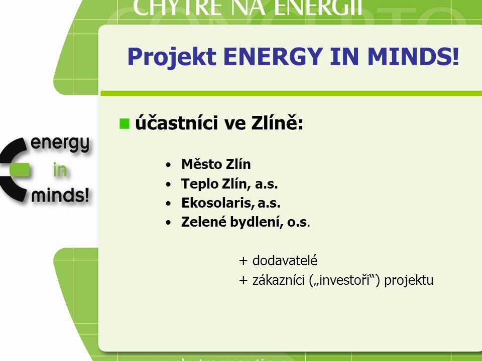 """Projekt ENERGY IN MINDS! účastníci ve Zlíně: Město Zlín Teplo Zlín, a.s. Ekosolaris, a.s. Zelené bydlení, o.s. + dodavatelé + zákazníci (""""investoři"""")"""
