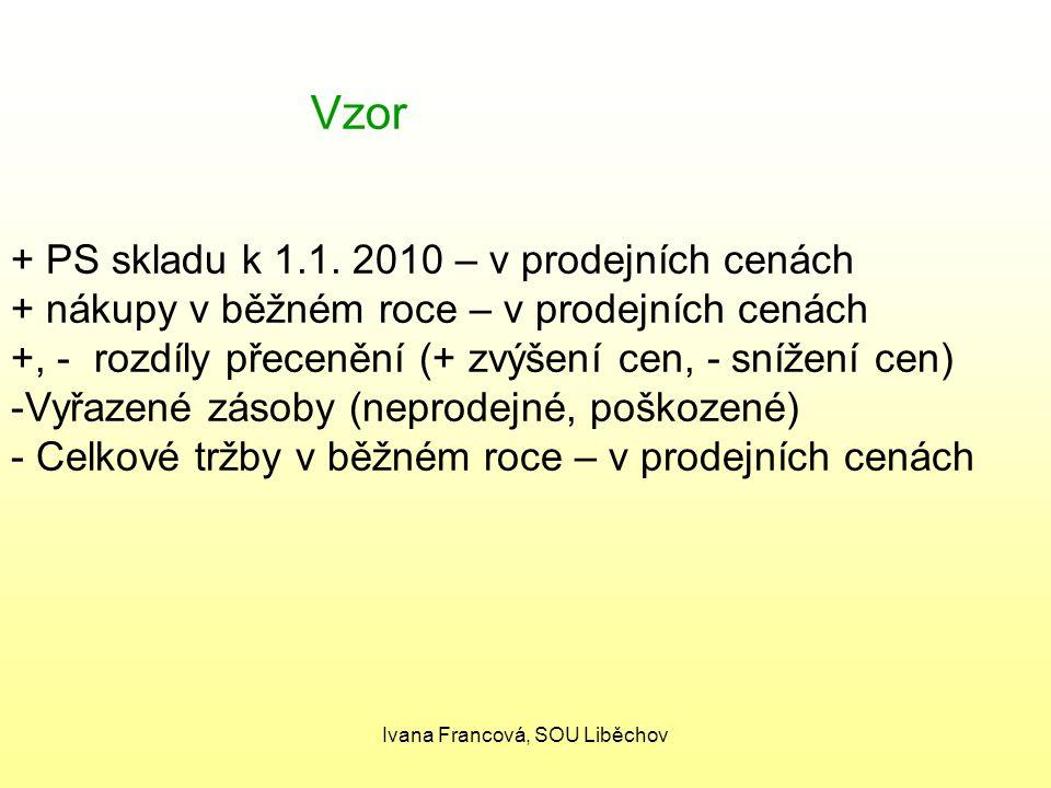 Vzor + PS skladu k 1.1. 2010 – v prodejních cenách + nákupy v běžném roce – v prodejních cenách +, - rozdíly přecenění (+ zvýšení cen, - snížení cen)