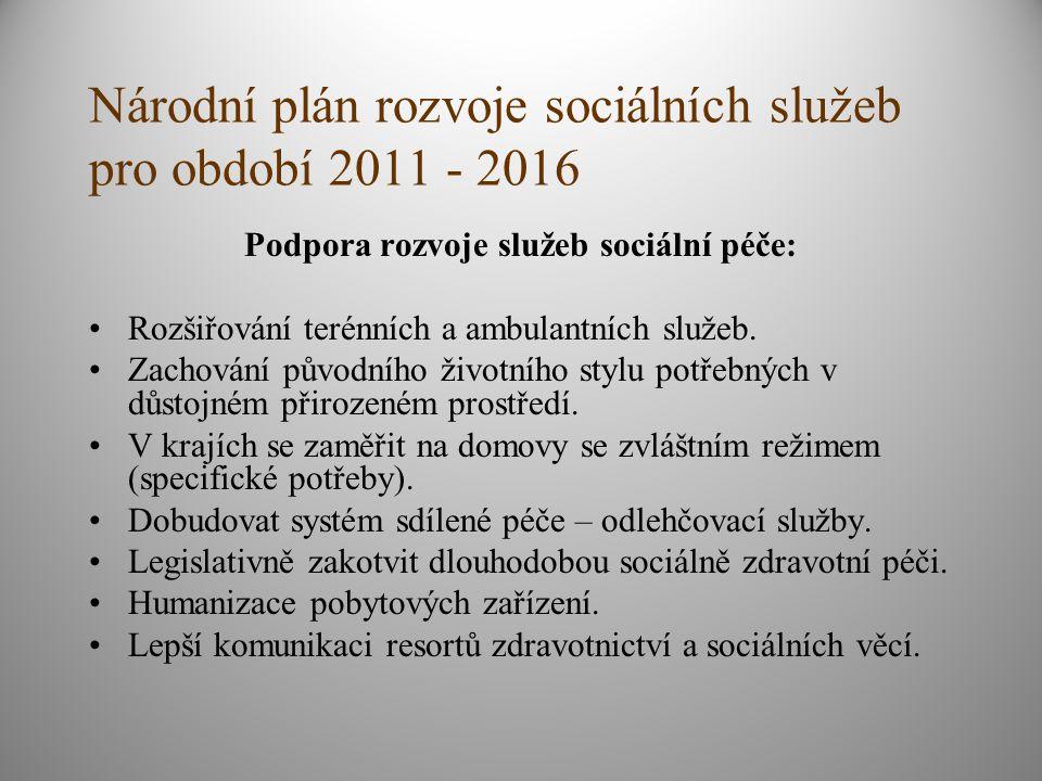 Národní plán rozvoje sociálních služeb pro období 2011 - 2016 Podpora rozvoje služeb sociální péče: Rozšiřování terénních a ambulantních služeb.