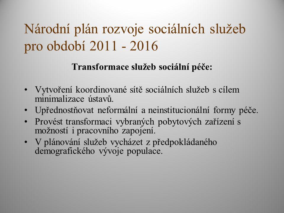 Národní plán rozvoje sociálních služeb pro období 2011 - 2016 Transformace služeb sociální péče: Vytvoření koordinované sítě sociálních služeb s cílem minimalizace ústavů.