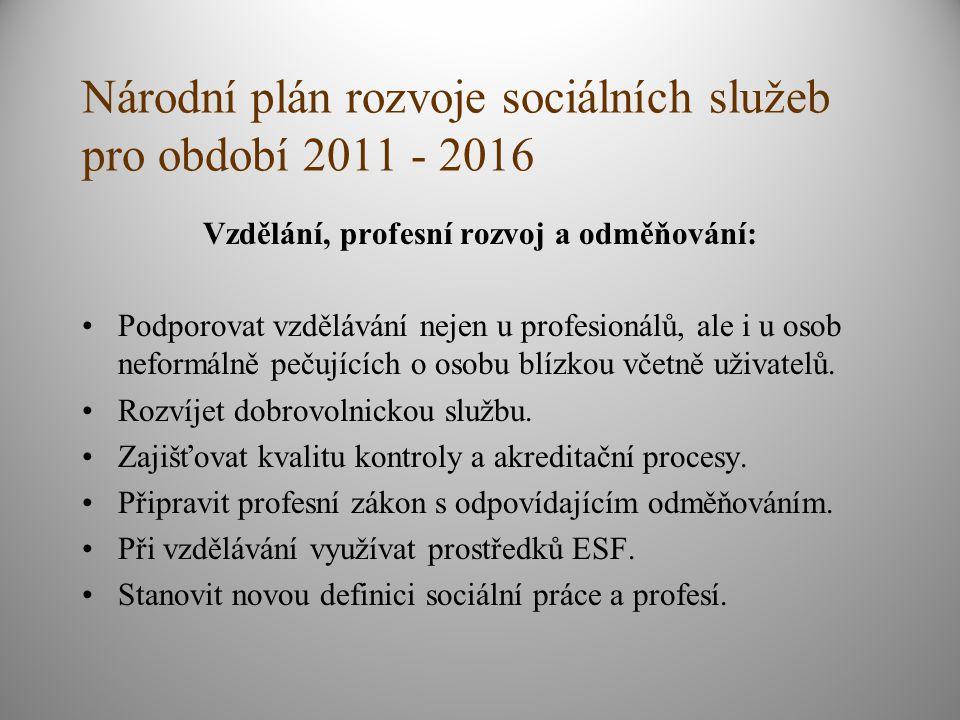Národní plán rozvoje sociálních služeb pro období 2011 - 2016 Vzdělání, profesní rozvoj a odměňování: Podporovat vzdělávání nejen u profesionálů, ale i u osob neformálně pečujících o osobu blízkou včetně uživatelů.