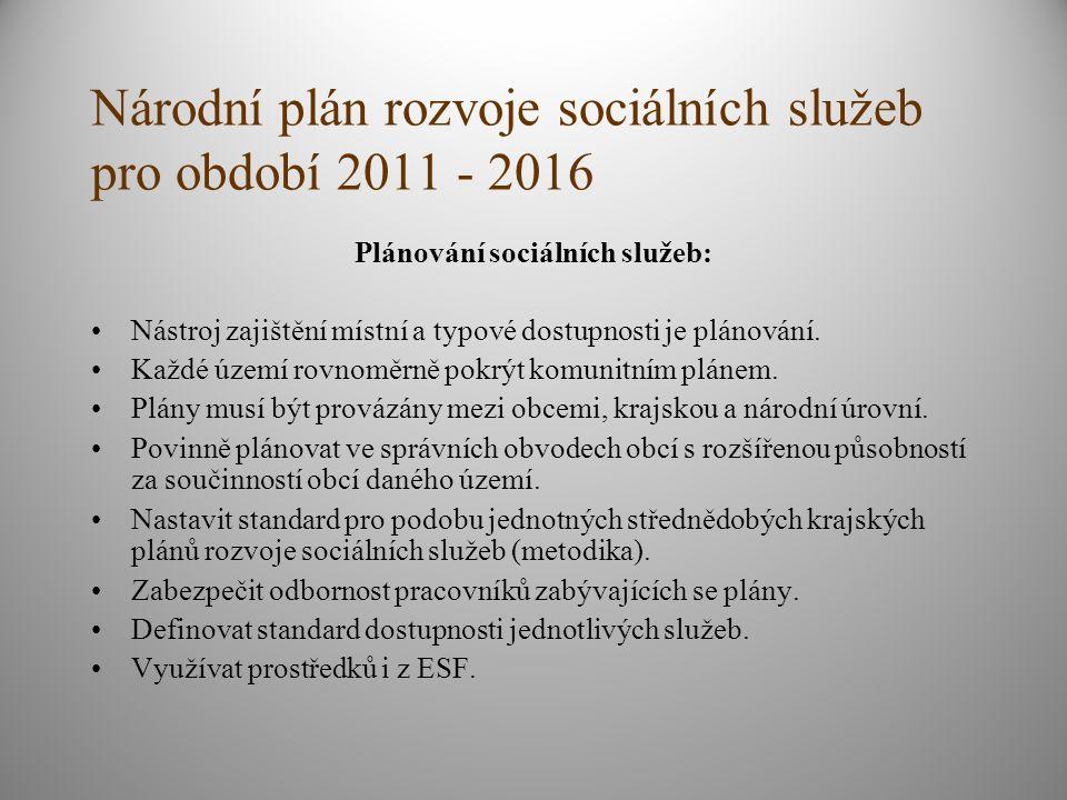 Národní plán rozvoje sociálních služeb pro období 2011 - 2016 Plánování sociálních služeb: Nástroj zajištění místní a typové dostupnosti je plánování.