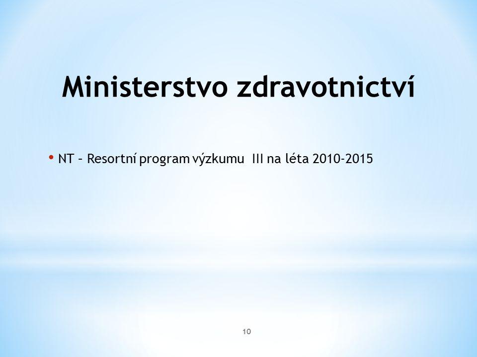 Ministerstvo zdravotnictví NT – Resortní program výzkumu III na léta 2010-2015 10