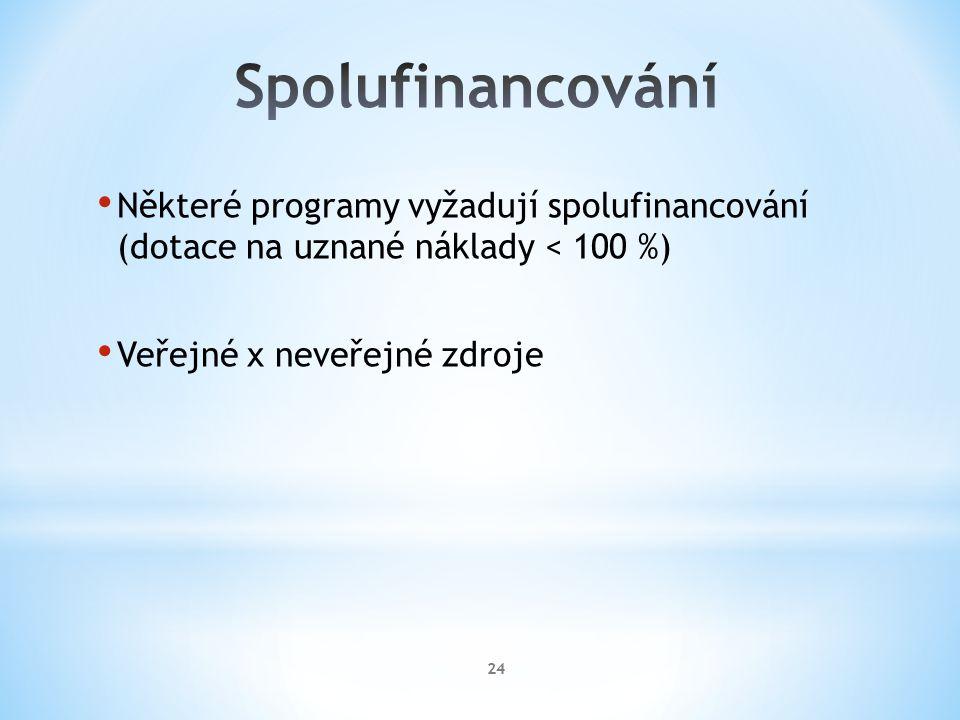 Některé programy vyžadují spolufinancování (dotace na uznané náklady < 100 %) Veřejné x neveřejné zdroje 24