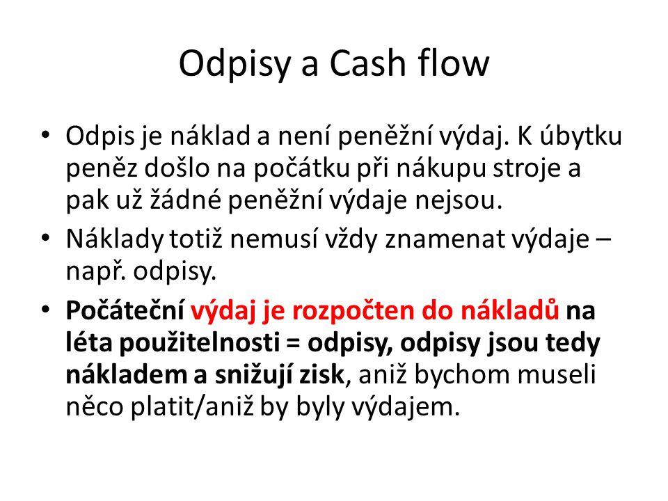Odpisy a Cash flow Odpis je náklad a není peněžní výdaj. K úbytku peněz došlo na počátku při nákupu stroje a pak už žádné peněžní výdaje nejsou. Nákla