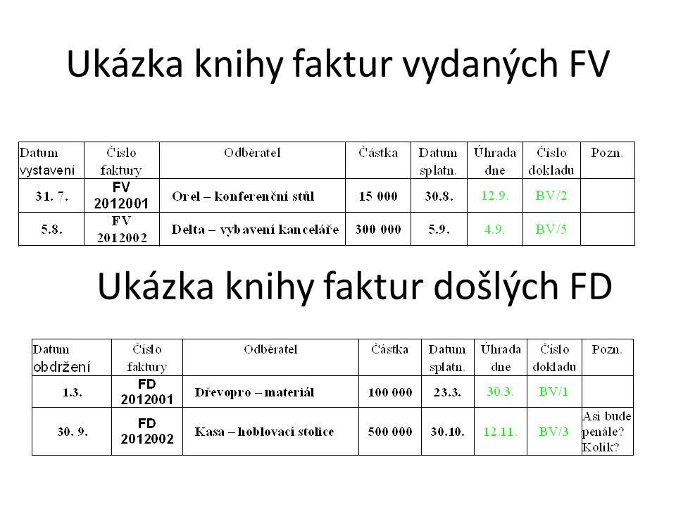 Ukázka knihy faktur vydaných FV Ukázka knihy faktur došlých FD