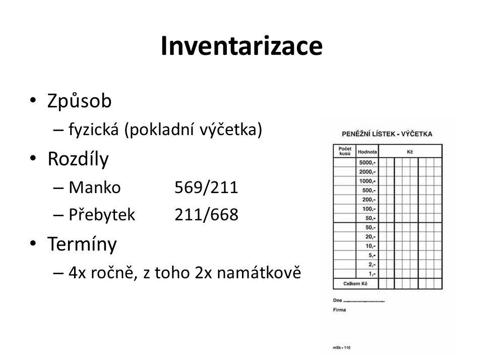 Inventarizace Způsob – fyzická (pokladní výčetka) Rozdíly – Manko569/211 – Přebytek211/668 Termíny – 4x ročně, z toho 2x namátkově