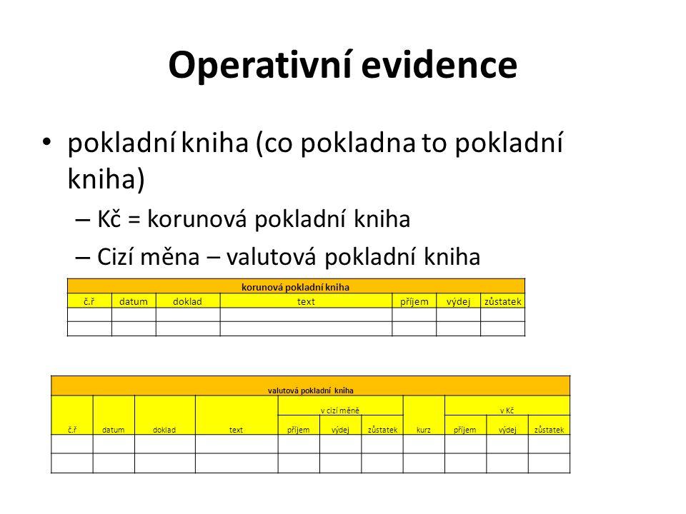 Operativní evidence pokladní kniha (co pokladna to pokladní kniha) – Kč = korunová pokladní kniha – Cizí měna – valutová pokladní kniha korunová pokla