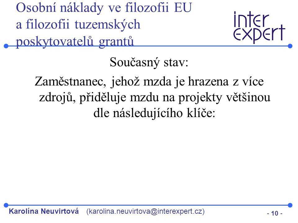Karolína Neuvirtová(karolina.neuvirtova@interexpert.cz) - 10 - Osobní náklady ve filozofii EU a filozofii tuzemských poskytovatelů grantů Současný sta