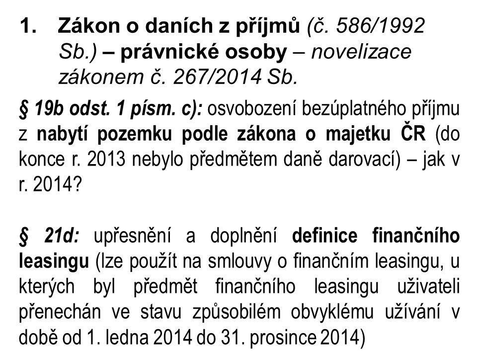 1.Zákon o daních z příjmů (č.586/1992 Sb.) – právnické osoby – novelizace zákonem č.