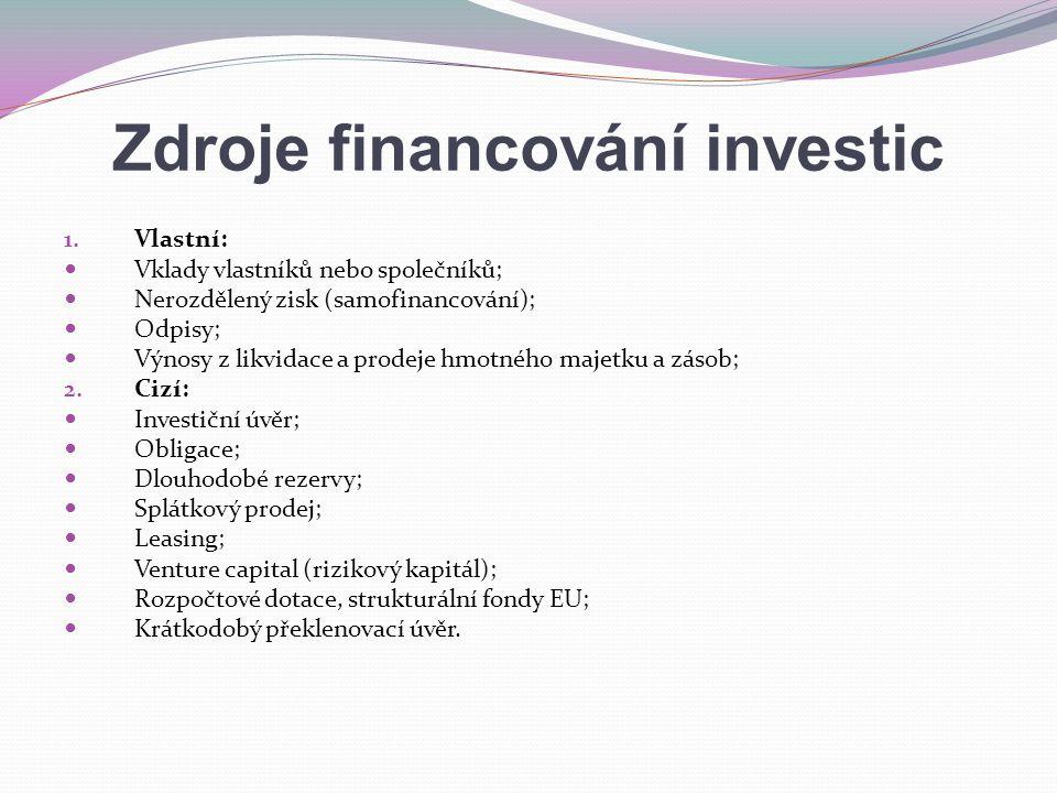Zdroje financování investic 1.