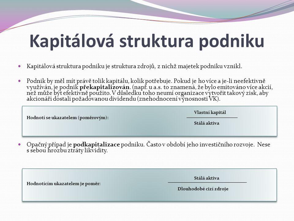 Kapitálová struktura podniku Kapitálová struktura podniku je struktura zdrojů, z nichž majetek podniku vznikl.