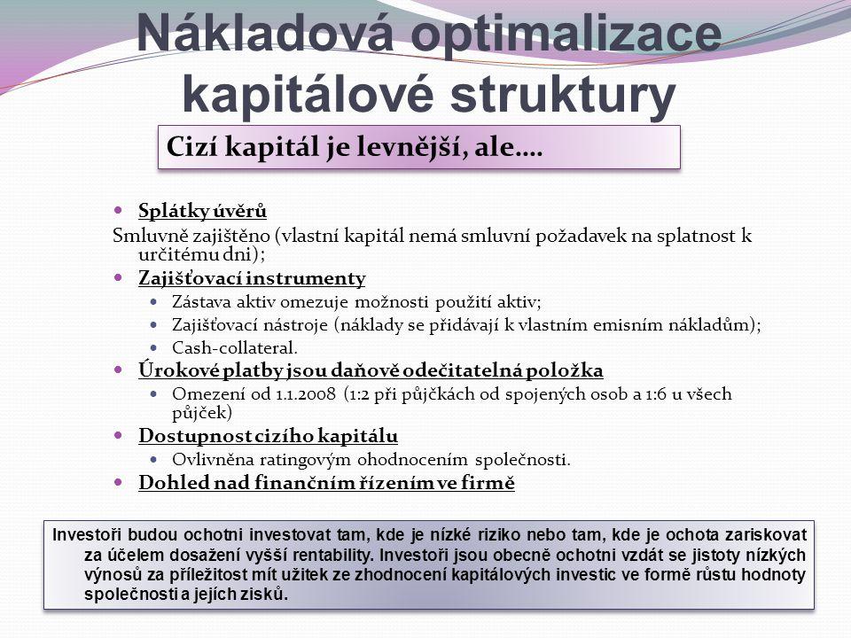 Nákladová optimalizace kapitálové struktury Splátky úvěrů Smluvně zajištěno (vlastní kapitál nemá smluvní požadavek na splatnost k určitému dni); Zaji