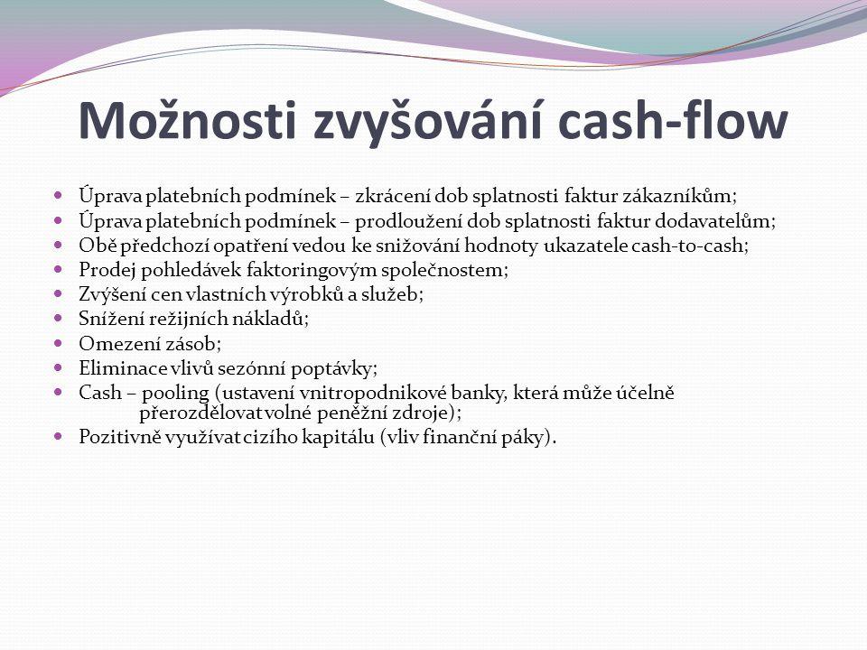 Možnosti zvyšování cash-flow Úprava platebních podmínek – zkrácení dob splatnosti faktur zákazníkům; Úprava platebních podmínek – prodloužení dob splatnosti faktur dodavatelům; Obě předchozí opatření vedou ke snižování hodnoty ukazatele cash-to-cash; Prodej pohledávek faktoringovým společnostem; Zvýšení cen vlastních výrobků a služeb; Snížení režijních nákladů; Omezení zásob; Eliminace vlivů sezónní poptávky; Cash – pooling (ustavení vnitropodnikové banky, která může účelně přerozdělovat volné peněžní zdroje); Pozitivně využívat cizího kapitálu (vliv finanční páky).