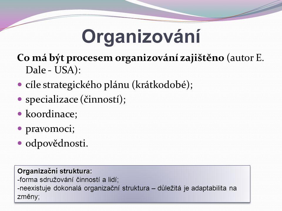 Organizování Co má být procesem organizování zajištěno (autor E. Dale - USA): cíle strategického plánu (krátkodobé); specializace (činností); koordina