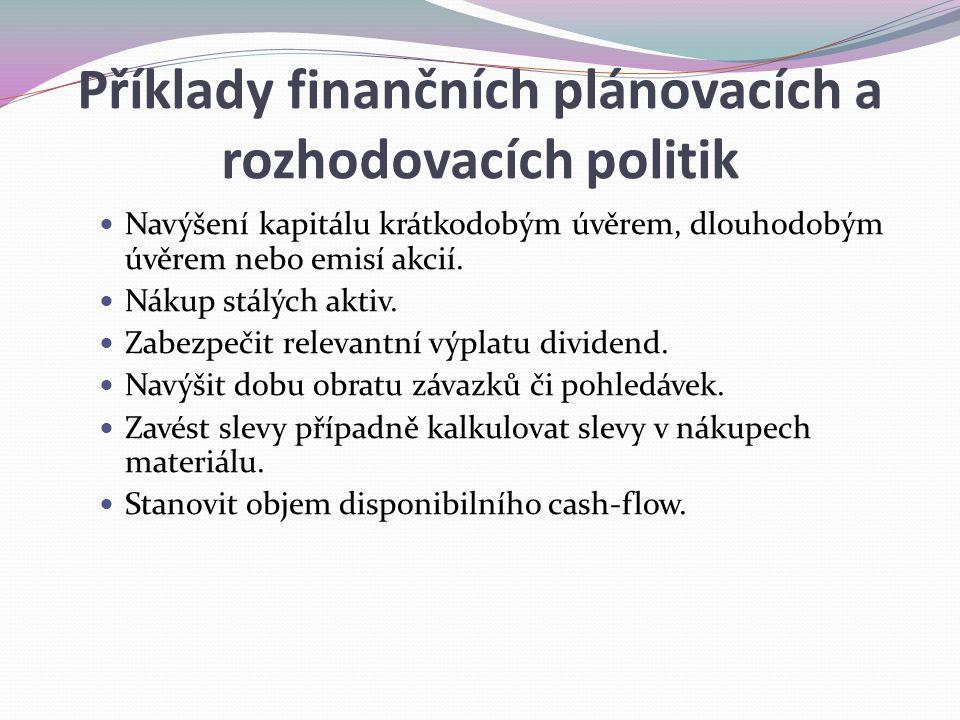 Příklady finančních plánovacích a rozhodovacích politik Navýšení kapitálu krátkodobým úvěrem, dlouhodobým úvěrem nebo emisí akcií. Nákup stálých aktiv