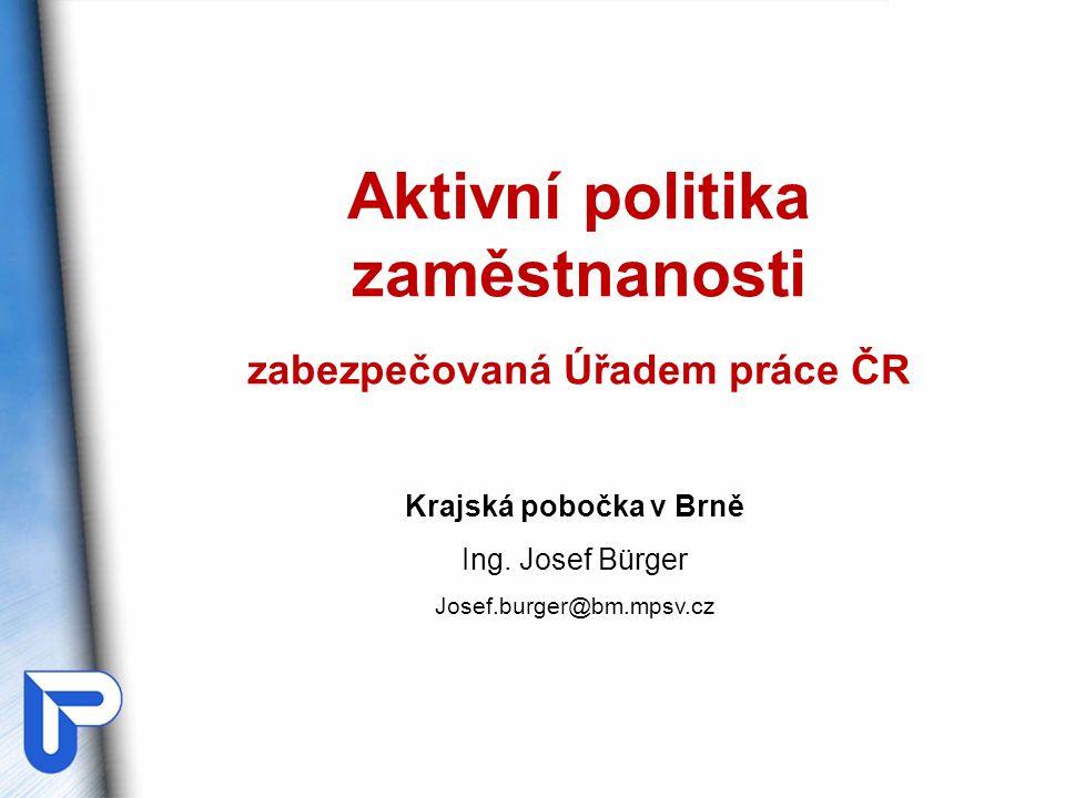Aktivní politika zaměstnanosti zabezpečovaná Úřadem práce ČR Krajská pobočka v Brně Ing. Josef Bürger Josef.burger@bm.mpsv.cz