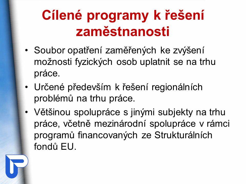 Cílené programy k řešení zaměstnanosti Soubor opatření zaměřených ke zvýšení možnosti fyzických osob uplatnit se na trhu práce. Určené především k řeš