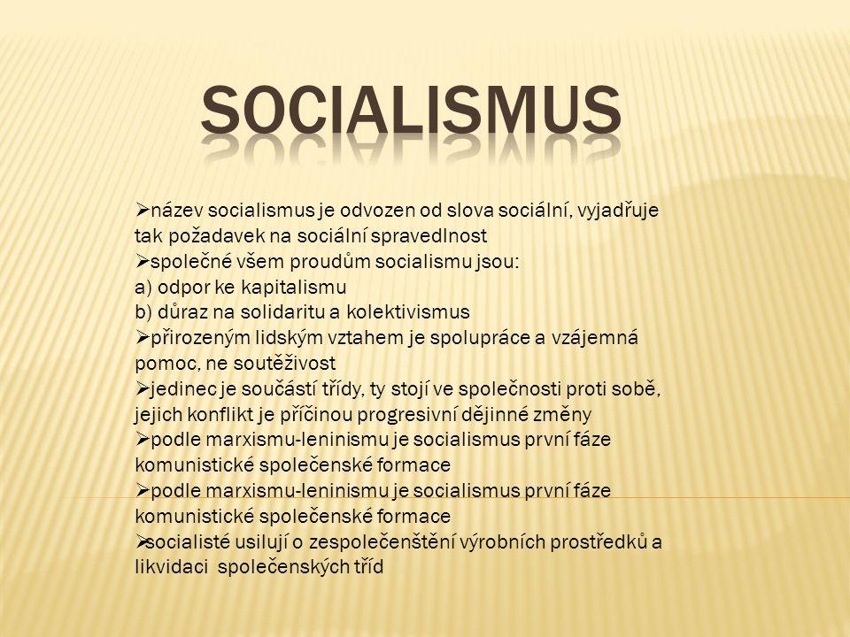  název socialismus je odvozen od slova sociální, vyjadřuje tak požadavek na sociální spravedlnost  společné všem proudům socialismu jsou: a) odpor ke kapitalismu b) důraz na solidaritu a kolektivismus  přirozeným lidským vztahem je spolupráce a vzájemná pomoc, ne soutěživost  jedinec je součástí třídy, ty stojí ve společnosti proti sobě, jejich konflikt je příčinou progresivní dějinné změny  podle marxismu-leninismu je socialismus první fáze komunistické společenské formace  socialisté usilují o zespolečenštění výrobních prostředků a likvidaci společenských tříd