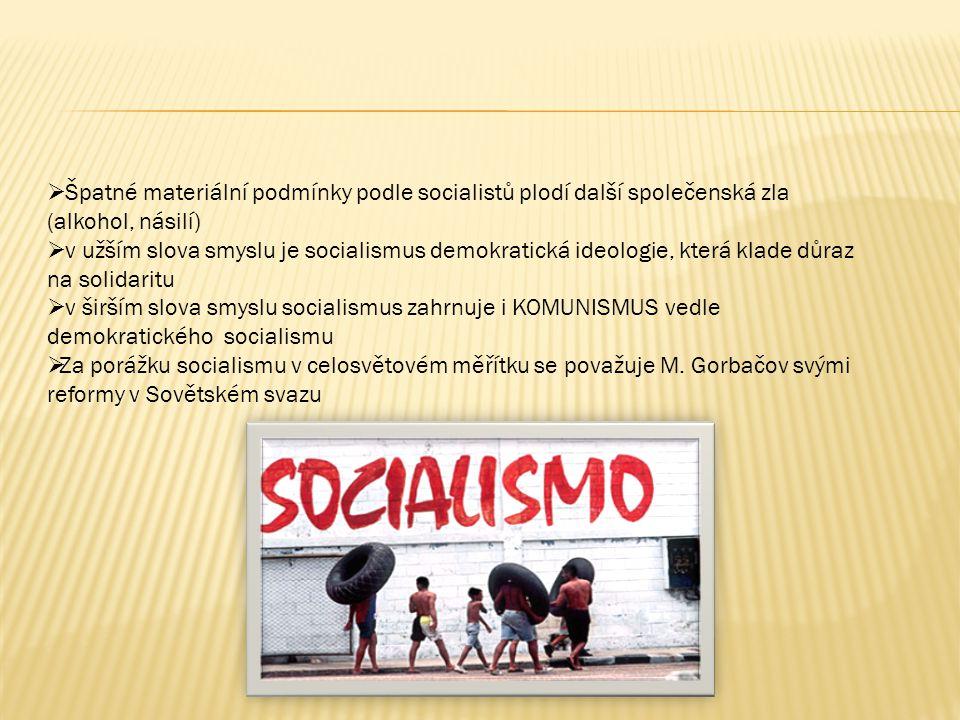  Špatné materiální podmínky podle socialistů plodí další společenská zla (alkohol, násilí)  v užším slova smyslu je socialismus demokratická ideologie, která klade důraz na solidaritu  v širším slova smyslu socialismus zahrnuje i KOMUNISMUS vedle demokratického socialismu  Za porážku socialismu v celosvětovém měřítku se považuje M.