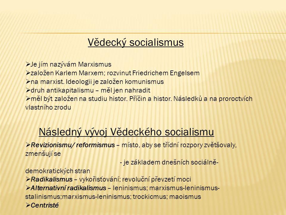 Vědecký socialismus  Je jím nazývám Marxismus  založen Karlem Marxem; rozvinut Friedrichem Engelsem  na marxist. Ideologii je založen komunismus 