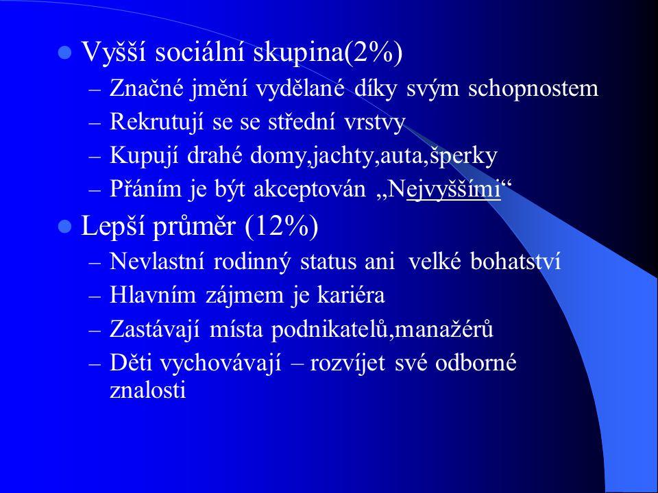 Vyšší sociální skupina(2%) – Značné jmění vydělané díky svým schopnostem – Rekrutují se se střední vrstvy – Kupují drahé domy,jachty,auta,šperky – Přá