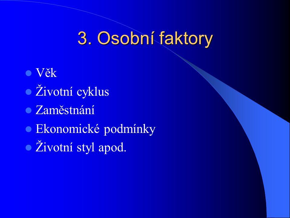 3. Osobní faktory Věk Životní cyklus Zaměstnání Ekonomické podmínky Životní styl apod.