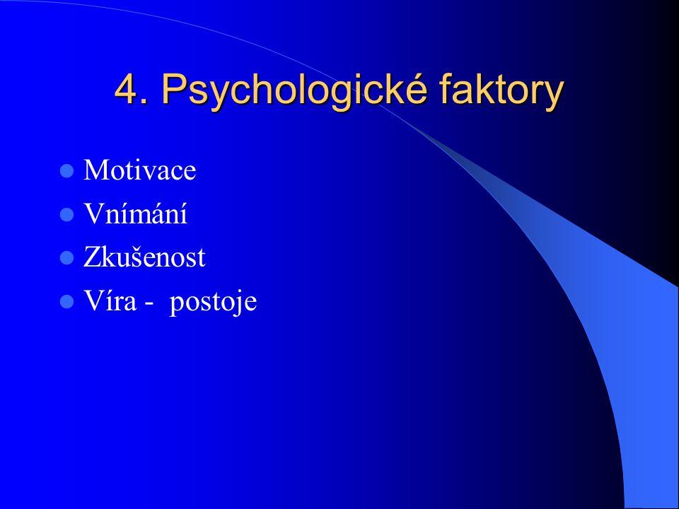 4. Psychologické faktory Motivace Vnímání Zkušenost Víra - postoje