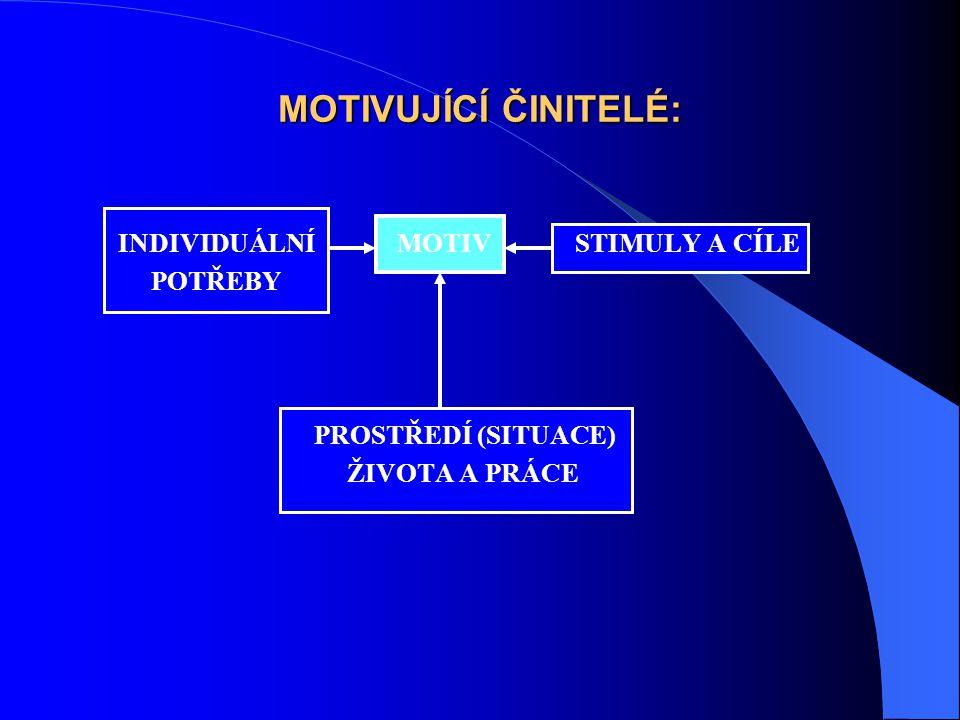 MOTIVUJÍCÍ ČINITELÉ: INDIVIDUÁLNÍ MOTIV STIMULY A CÍLE POTŘEBY PROSTŘEDÍ (SITUACE) ŽIVOTA A PRÁCE