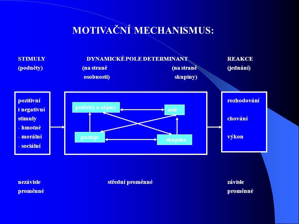 Potřeby STIMULY DYNAMICKÉ POLE DETERMINANTREAKCE (podněty) (na straně (na straně(jednání) osobnosti) skupiny) pozitivnírozhodování i negativní stimuly
