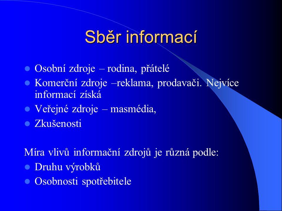 Sběr informací Osobní zdroje – rodina, přátelé Komerční zdroje –reklama, prodavači. Nejvíce informací získá Veřejné zdroje – masmédia, Zkušenosti Míra